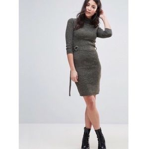 Asos Brave Soul Polo Neck Belted Sweater Dress